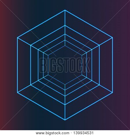 Abstract Vector Futuristic Hexagonal Element for Cover Design, Purple and Blue Background, Illustration