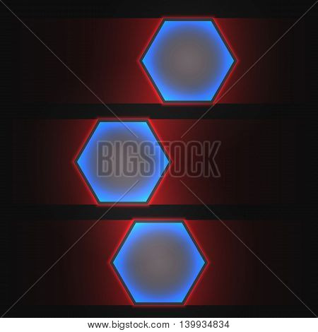 Abstract vector dark background with neon light. Hexagon banners for web, applications, business. Sci-fi illustration.