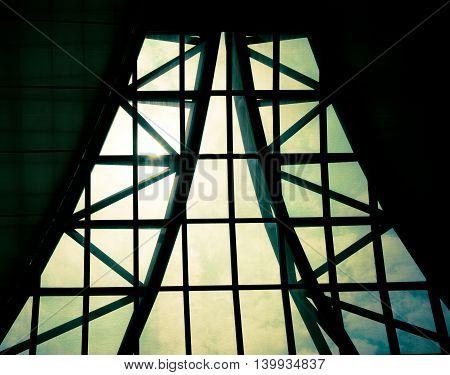 Business Building Interior, Sunburst Over Building Roof,structure Pattern