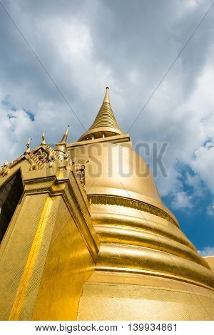 Looking Up At Gold Pagoda Temple Of The Emerald Buddha,grand Palace,bangkok,thailand