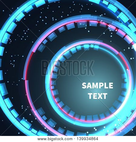 Abstract space background circles red and blue with lights. Vector illustration for your business presentations.