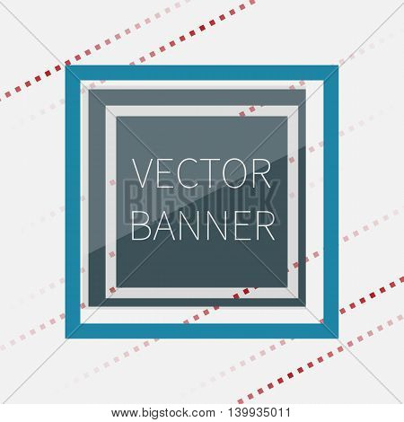 Dark green glossy banner, with glass elements, vector illustration