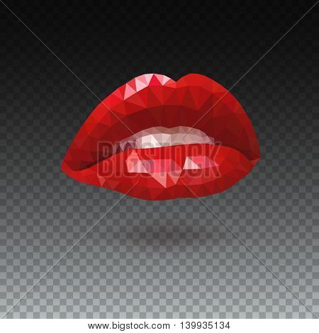Woman red triangle lips made from polygons. Vector abstract bright geometric illustration on white background. Women s seductive scarlet lips, open mouth with white teeth