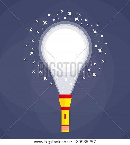 Yellow red Flashlight at dark bkackground in darkness illuminating ground. Search, investigation concept. Flat style. vector illustration
