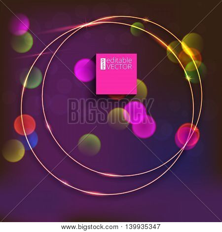 Sparkling golden glow rings, frame with light effect on bright background with bokeh effect. Abstract vector composition. Great backdrop for the wedding ceremony or invitation cards