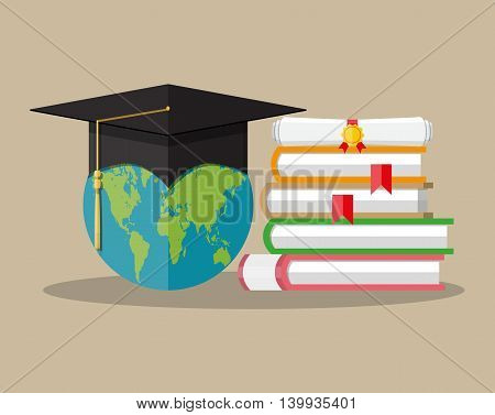 Globe and graduation cap, books stack and rolled diploma with seal and ribbons. world graduation concept. vector illustration in flat style on brown background