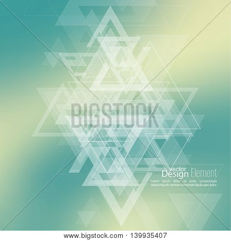 Abstract blurred background with hipster stream flying triangles debris. Pattern. For cover book, brochure, flyer, poster, layout, template, magazine, t-shirt. Vector design subtle color green