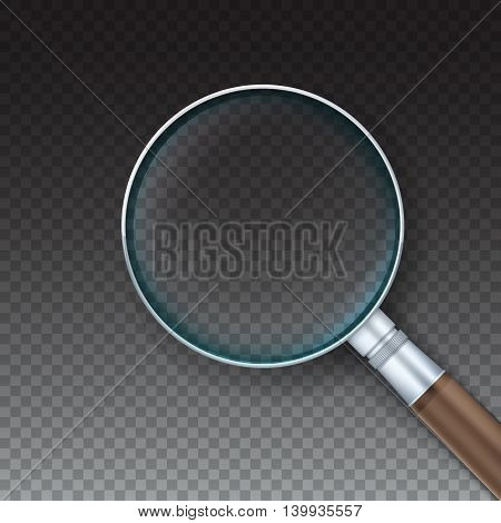 Magnifying glass with reflex in a metal frame with handle, isolated on transparent background. Vector Illustration