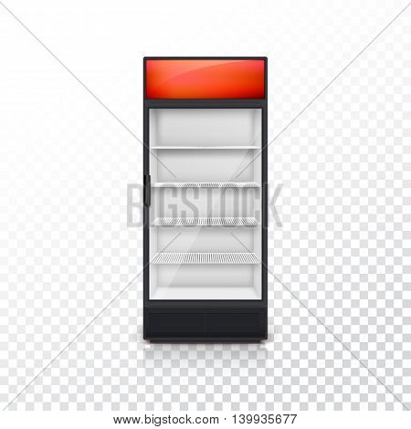 Fridge for drink with glass door and red lightbox, on a transparent background. Mock-up or template for your design and advertising message