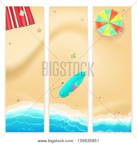 Set of vector banners with sunny sandy beach with turquoise sea tide, umbrella, mat and surfing board. Summer travel background, promotional poster for your business
