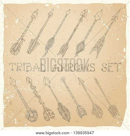 Hand-drawn sepia tribal decorative elements in boho style. Tattoo design.