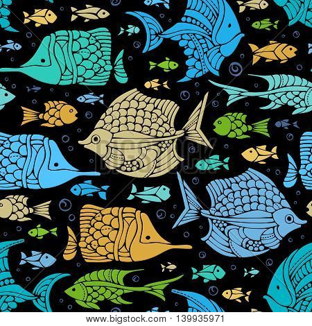 Vector Seamless Fish Pattern.