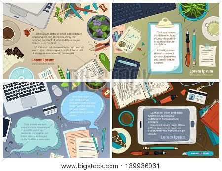 Vector Set Of Office Workplace Backgrounds.