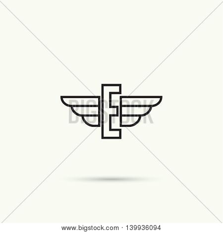 Elegant dynamic alphabet letters with wings. Monogram wing logo mockup. Creative design element. Corporate branding identity. Vector template. Letter, e