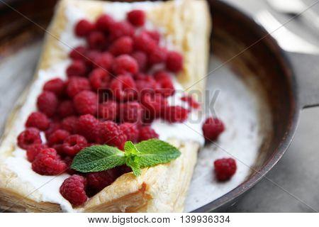 Fresh berry dessert on pan