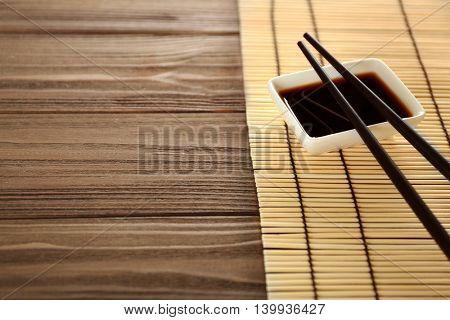 Sushi set on wooden background