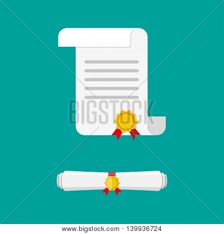 White unrolled and rolled paper diploma scroll with yellow stamp and red ribbons. Graduation concept. business certificate. vector illustration in flat style on green background