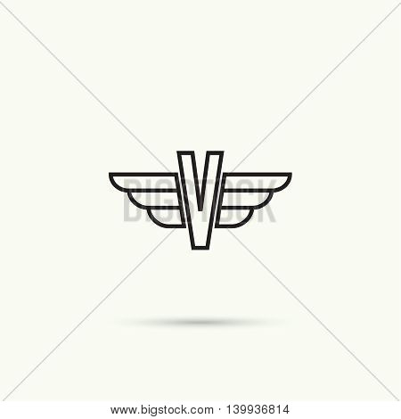 Elegant dynamic alphabet letters with wings. Monogram wing logo mockup. Creative design element. Corporate branding identity. Vector template. Letter, v