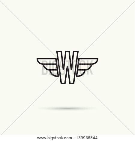 Elegant dynamic alphabet letters with wings. Monogram wing logo mockup. Creative design element. Corporate branding identity. Vector template. Letter w