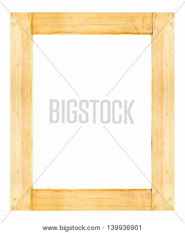Light Wooden Frame Isolated On White Background
