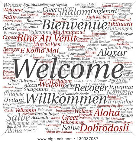 Vector concept or conceptual abstract square welcome or greeting international word cloud in different languages or multilingual isolated