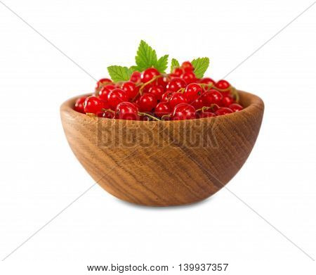 Redcurrant isolated on white background. Red berries with leaves.