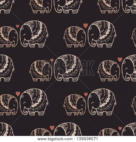 Card with Elephant. Frame of animal made in vector. Pattern Illustration for design, pattern, textiles Use for children clothes, pajamas
