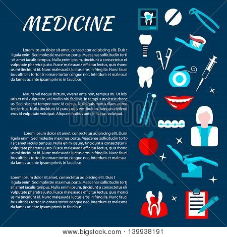Dentistry medicine information banner with infographics. Stomatology dental care illustration template for poster, board, leaflet, flyer. Dentist tools and equipment vector elements.