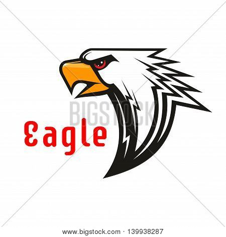 American Eagle vector emblem. Hawk graphic label for team mascot shield, icon, badge, label and tattoo. Falcon symbol for scout, sport, guard, club identity icons.