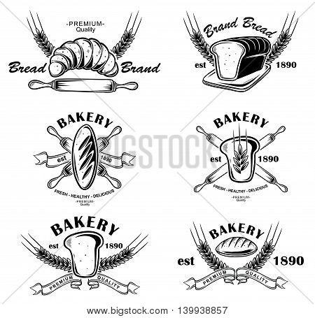 Black and White Bakery Badges wit Retro Style