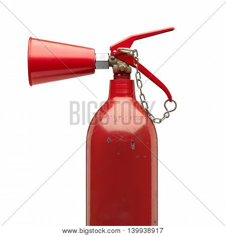 Side view of an old and rough fire extinguisher with safety chain.Clipping path