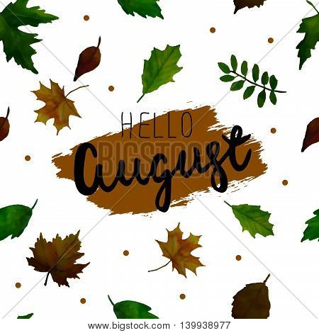 Hello August. Vector  Seamless Pattern.