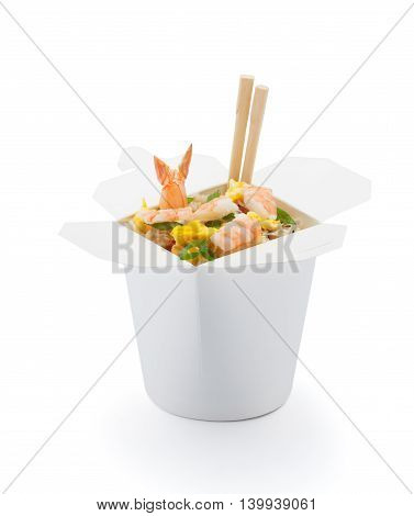 Shrimp Teriyaki With Japanese Rice In Box Isolated On White Background