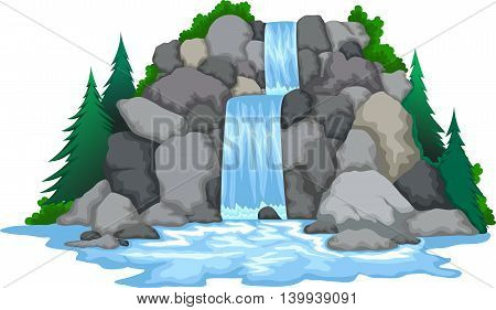 beauty waterfall with pine tree landscape background
