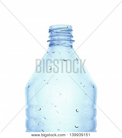 Empty water bottle in blue color against white background. Clipping path