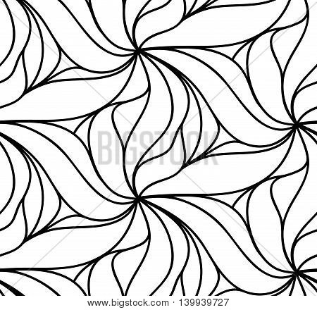Abstract seamless floral background of doodle hand drawn lines. Monochrome wave pattern. Coloring book page. Black white wallpaper.