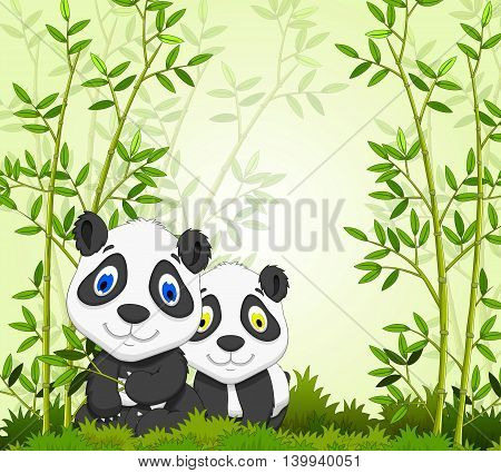 funny cartoon panda with bamboo forest background