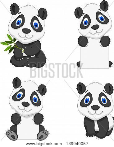 collection of funny cartoon panda set character