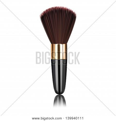 makeup brushes and cosmetic powder isolated on a white background