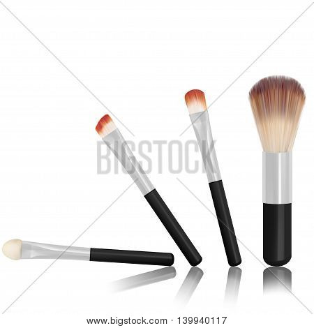 makeup brushes and cosmetic powder vector illustration