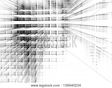 Abstract background element. Fractal graphics series. Three-dimensional composition of repeating transparent shapes. Information technology concept. Black and white colors.