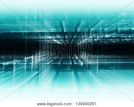 Abstract background element. Fractal graphics series. Three-dimensional composition of glowing artifacts. Information glitch concept. Blue colors.