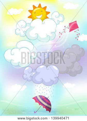Colorful Illustration Featuring Different Types of Weather