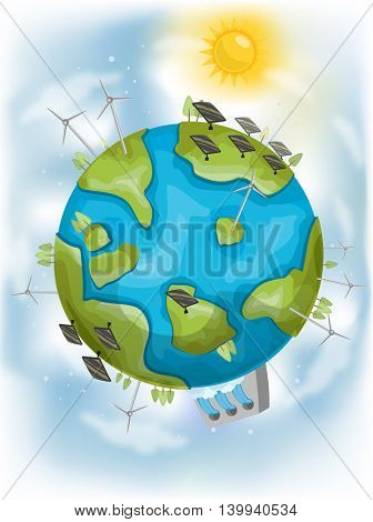 Illustration Featuring Different Types of Renewable Energy
