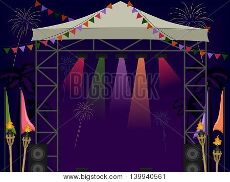 Illustration of a Beach Stage with Fireworks in the Background