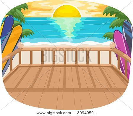 Illustration of the Setting Sun as Seen from the Balcony of a Beach House
