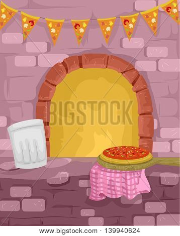Illustration of a Pizza Being Cooked in a Traditional Furnace