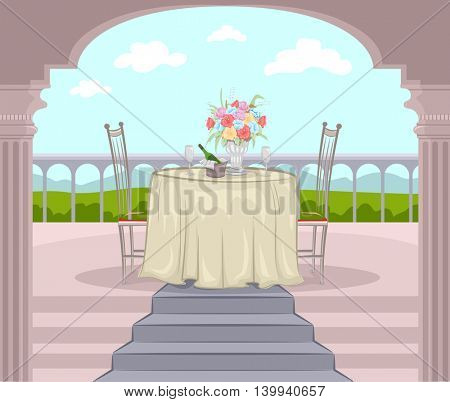 Illustration of a Balcony Prepared for a Romantic Date
