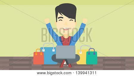 An asian young man with hands up using laptop for shopping online. Customer sitting with shopping bags around him. Man doing online shopping. Vector flat design illustration. Horizontal layout.