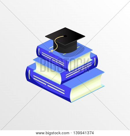 Concept of graduation academic cap on books pile of books. Flat design, isometric graphics